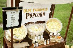 Popcorn wedding food bar