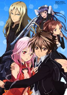 Guilty Crown  -  *Very Good*  A meteorite carrying a foreign virus crashes in Japan, leading to a devastating nation-wide infection and total anarchy called Lost Christmas. Several years later, Ouma Shu a regular high school student, after meeting a strange girl named Yuzuriha Inori, a special ability awakened inside him by the Apocalypse Virus.  Inori, incites him to join the struggle against a government organization's robotic forces and a secret society whose goal remains shrouded in…