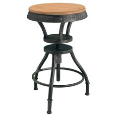 Lucian Fir Top Adjustable Bar Stool - Bring home a bit of rustic style with the Lucian Fir Top Adjustable Bar Stool . This bar stool is made to last from solid iron with a fir wood seat....
