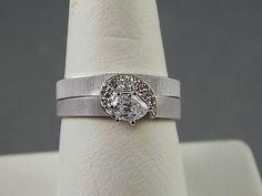 1960s Diamond Wedding Set White Gold 14K by estatejewelryshop