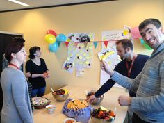 The customer support employees are happy with their 1st prize for #compliment day #idexx #yam