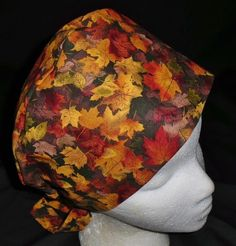 Handcrafted Ladies Surgical Scrubs Scrub Cap Pixie Hat Medical Caps Colorful Fall Foliage
