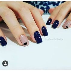 In seek out some nail designs and ideas for your nails? Here's our list of 15 must-try coffin acrylic nails for fashionable women. Minimalist Nails, Classy Nails, Stylish Nails, Nail Manicure, Manicures, Blue Nails, My Nails, Polka Dot Nails, Nagellack Design