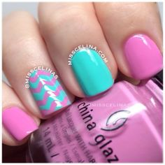 Pink, turquoise and chavron nails. Nail Art. Nail Design. Polishes. Polish. Polished. China Glaze. Instagram by misscelinas