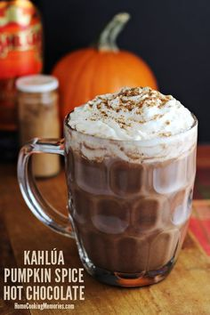 This Kahlúa Pumpkin Spice Hot Chocolate recipe takes your usual hot chocolate and turns it into a cocktail to enjoy during your holiday celebrations. Secret ingredients include pumpkin puree and pumpkin spice Kahlua liqueur. Holiday Drinks, Fun Drinks, Yummy Drinks, Yummy Food, Beverages, Winter Drinks, Refreshing Drinks, Pumpkin Spice Hot Chocolate Recipe, Hot Chocolate Recipes