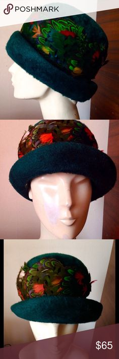 BARBIE HAT BANDS FOR VINTAGE BARBIE CLOTHES GREEN PEACOCK FEATHERED HATBAND!