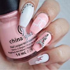 #nails #white #pink #unhas #branco #rosa #paris