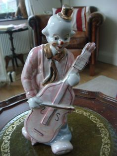 A CELLO PLAYING PINK CLOWN - NO DAMAGE in Pottery, Porcelain & Glass, Porcelain/ China, Unmarked Pieces, Figures | eBay