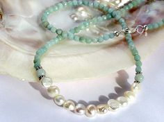 Pearl and green amazonite necklace. Stunning by EvasJewellery, $34.99