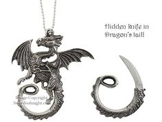 Dragon necklace with hidden pull out knife in tail. Reminds me of Rainwings because of their hidden secrets.