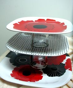 DIY cupcake stand, super glue and some plates and shot glasses, unify by spray paint one color