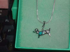LOOK!!!! AN ADORABLE STERLING SILVER PINK, WHITE AND BLUE FIRE OPAL PUPPY DOG NECKLACE