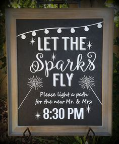 Let the sparks fly - custom lettering for 16x20 frame.