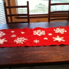 The start of my table runner for Christmas.  Inspired by Pintrest.