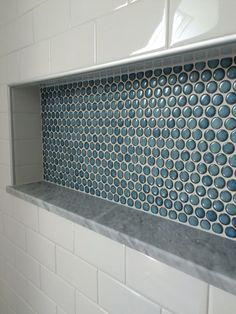Penny tile shower nice is part of Bathroom shower tile - custom shower detail inset niche with penny tiles, marble base and subway tile wall Portland, Maine renovation East End Carpentry Email egibbs rr com for more info Bathroom Niche, Bathroom Ideas, Tile Shower Niche, Bathroom Canvas, Shower Ideas, Shower Bathroom, Master Shower, Bath Ideas, Bathroom Designs