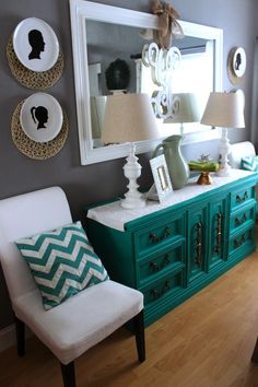 LOVE how that piece just POPS Want to do this to boys dresser, but in a boy color, of course!