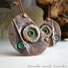 Copper and green patina earrings | Handmade by Beads and Tricks