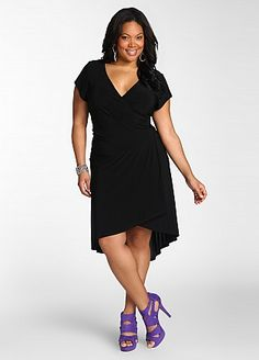 Hi Low Hem Dress  Price: Sale! $39.98  Style: 892358  Classic little black dress with an update. Plus size dress features a surplice neckline that leads to ruched detailing at side waist and is finished with a hi low hem.
