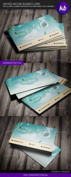 Vintage Nature Business Card #GraphicRiver Hi Thank you for purchasing on of my files. General Description: This card would be perfect for a webdesigner or graphic designer or a corporation. All text layers are full type and can be edited very easily. Layered Photoshop file (.psd) with both the front and back design—well labeled with guides for the bleed @ 300dpi, Colors can be changed easily with the blending options in photoshop. The business card comes with landscape style. Detail: •…