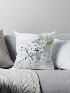 White cherry blossoms. photo, photography, artwork, buy, sale, gift ideas, redbubble, cherry, cherry blossoms, freshness, green leaves, spring flowers, spring trees, tenderness, white flowers, white petals, young, springtime, spring, home decor, comfort, throw pillow