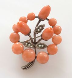 Vtg Salmon Coral Seed Pearl Rondelle Bead Floral Brooch 800 Silver Victorian
