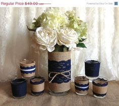 3 DAY SALE navy blue rustic burlap and lace covered by PinKyJubb