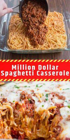 Million Dollar Spaghetti Casserole – Laura Recipes – Food Master Best Potluck Dishes, Potluck Recipes, Dinner Dishes, Pasta Dishes, Dinner Recipes, Main Dishes, Italian Casserole, Baked Spaghetti Casserole, Spaghetti Bake