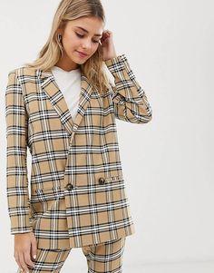 5f6c242374 ASOS DESIGN suit blazer in brown check Checked Blazer