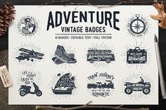 ADVENTURE VINTAGE BADGES (part 1) by Cosmic Store on @creativemarket