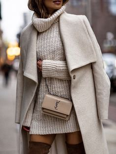 casual outfits for women ~ casual outfits ; casual outfits for winter ; casual outfits for work ; casual outfits for women ; casual outfits for school ; casual outfits for winter comfy White Coat Outfit, White Sweater Dress, Sweater Dresses, Neutral Outfit, Sweater Dress Outfit, Sweater Outfits, Winter Outfits For Teen Girls, Fall Winter Outfits, Ootd Winter