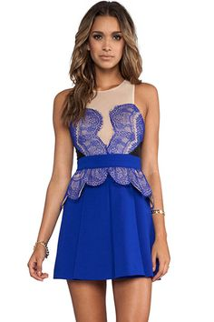 Blue Lace Patchwork Sleeveless Skater Dress