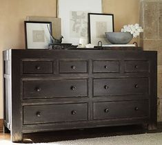 Like the dresser and arrangement on top of it. Dawson Extra-Wide Dresser #potterybarn Want this for the master bedroom
