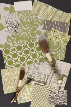 Lacefield Designs Basil Moss textile mood board