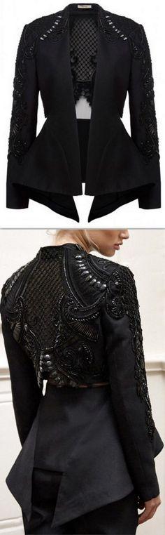 'Concerto' Beaded Jacket, Black