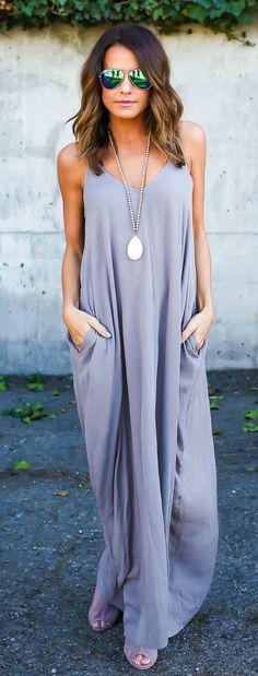 spring fashion  Grey Maxi Dress