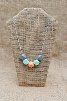 Grey Mint and Peach Wooden Geometric Necklace by LauraAudaciously, $22.00