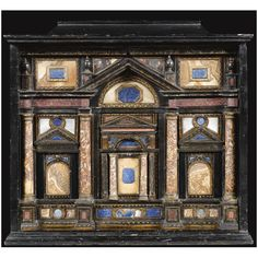 An Italian mother-of-pearl and marble mounted ebonised and parcel-gilt lacquer cabinet, Venetian, late 16th/early 17th century and later