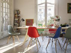 Vitra celebrates with 6 new colours for the Eames Plastic Chair Collection! Eames Plastic Side Chair by Charles & Ray Eames and EM Table by Jean Prouvé, both designed in 1950 for Vitra. Get The Originals at www.2ndfloor.gr