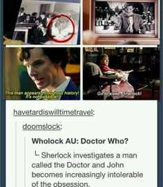 Wholock: This needs to happen << I can make it better. Three Americans show up at his door with a Brit. They all have fake badges and are cut off by Sherlock before they could introduce themselves or ask questions. ( they are {of course} Sam, Dean, Cas, and Crowley)