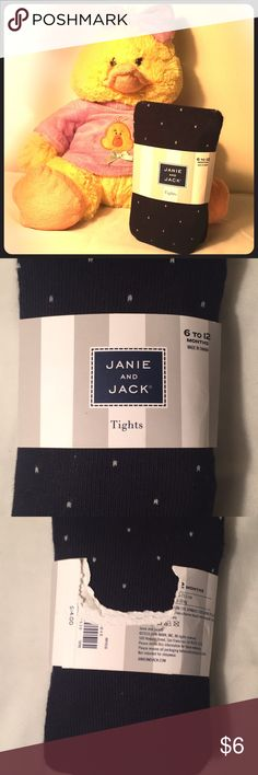 JANIE AND JACK Tights JANIE AND JACK 6 to 12 months navy blue & white polka dots tights! 👶 Janie and Jack Bottoms Leggings