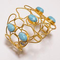 Amazing  Larimar 18 Cts. Vormil Gold Plated Handmade Designer Bangle Cuff SR778…