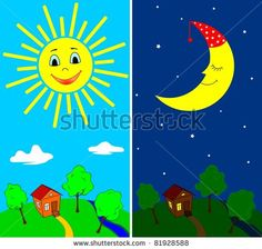 Illustration about Countryside view in the daytime and nighttime with the sun and the moon in cartoon style. Illustration of cartoon, nature, outdoor - 20502236 Preschool Lessons, Preschool Math, Day For Night, Night Time, Indian Freedom Fighters, 4 Image, Sequencing Cards, Countryside Landscape, Toddler Schedule