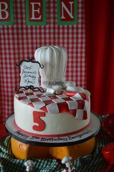cake chef theme Guys Birthday Parties, Birthday Pizza, Fondant Cakes, Cupcake Cakes, Kids Cooking Party, Thomas Cakes, Chef Cake, Chef Party, Pizza Cake