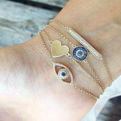 RUBY STELLA JEWELRY evil eye, karma, protection, diamond bracelet, evil eye bracelet, heart bracelet, yellow gold jewelry, yellow gold heart, diamond bar #rubystella