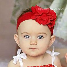 Red Frilly Nylon Baby Headband