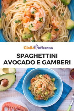 Spaghettini avocado e gamberi Avocado, Pasta, Healthy Lifestyle, Food And Drink, Guilty Pleasure, Ethnic Recipes, Pasta Dishes, Vegetarian, Dinner