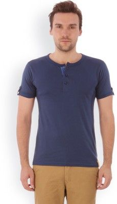 cfeb2f740b3c Campus Sutra Solid Men Henley Blue T-Shirt is available to buy from Flipkart  at the price of Rs. from Campus Sutra brand in Polos & T-Shirts category at  ...