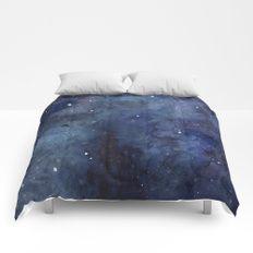 Night Sky Stars Galaxy   Watercolor Nebula Comforters
