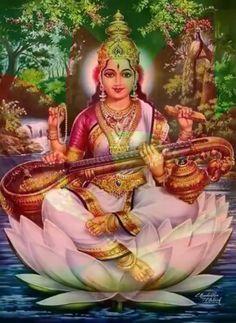 Saraswati Mata, Saraswati Goddess, Shiva Shakti, Indian Goddess, Goddess Art, Hindus, Durga Images, Buddha, Lord Vishnu Wallpapers