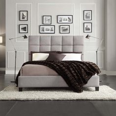 INSPIRE Q Fenton Grey Linen Panel Upholstered Platform Bed | Overstock.com Shopping - The Best Deals on Beds